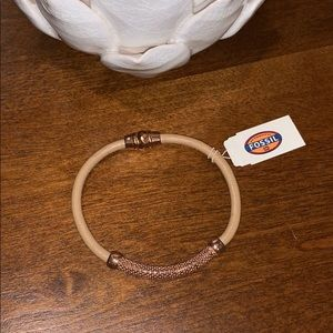 NWT Fossil Rose Gold & Leather Bracelet